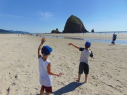 waving goodbye to Haystack Rock
